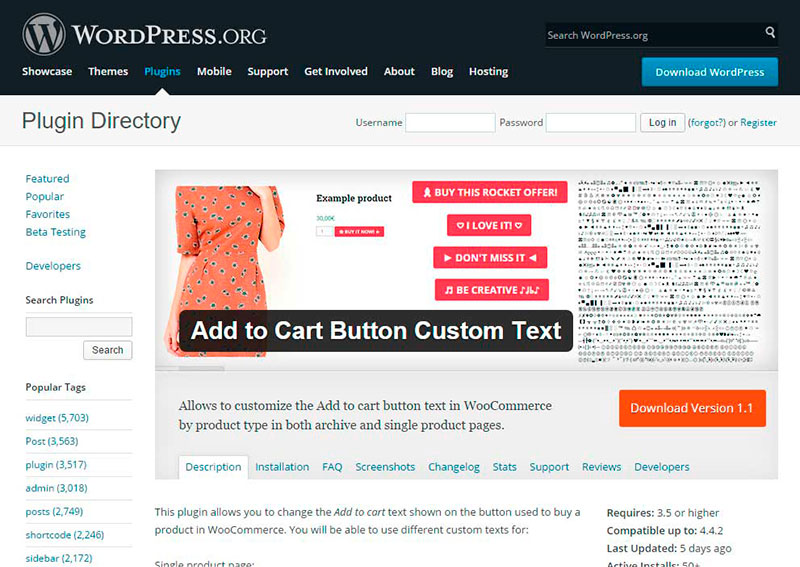 Plugin Add to Cart Button Custom Text