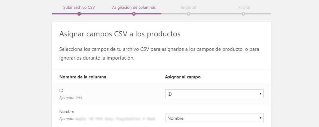 Asignación de columnas del CSV de importación