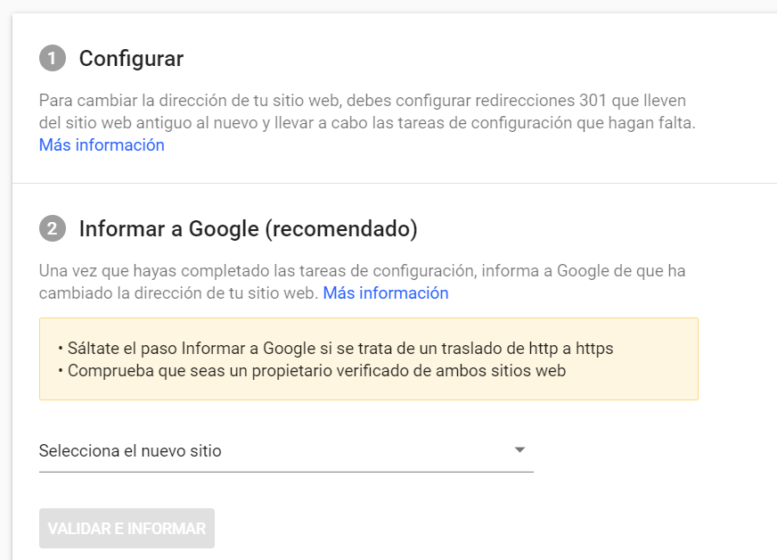 Cambio de dominio en Google Search Console