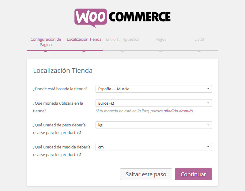 Configuración local de WooCommerce