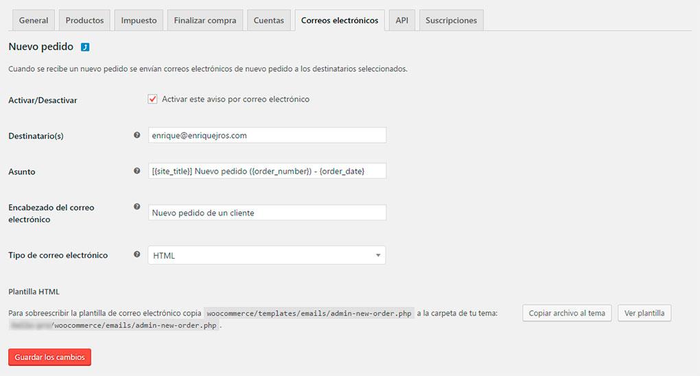 Configurar correo electrónico en WooCommerce