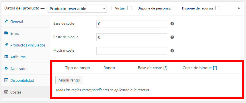 Coste de la reserva en WooCommerce Bookings