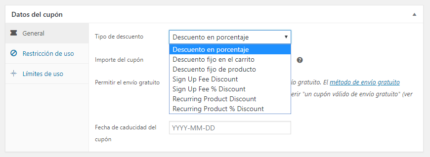 Cupones en WooCommerce Subscriptions