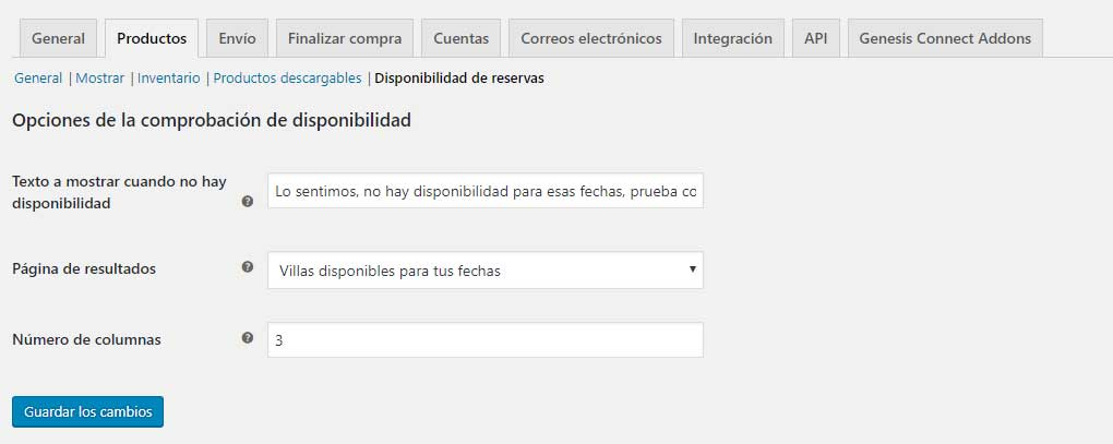 Ajustes de disponibilidad para WooCommerce Bookings