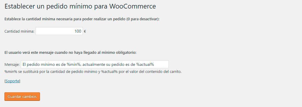 Ajustes de pedido mínimo en WooCommerce