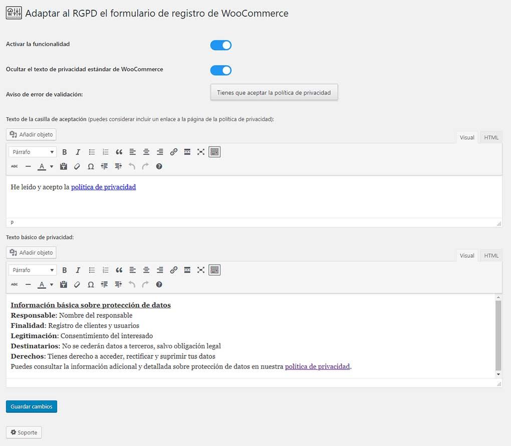 Opciones para adaptar al RGPD el formulario de registro de WooCommerce