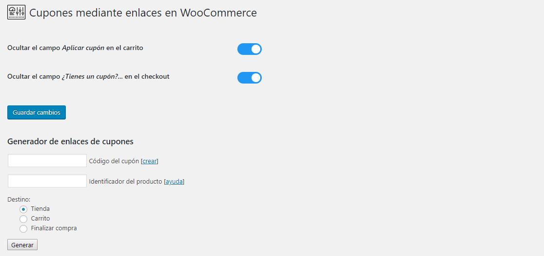Cupones por enlace en WooCommerce