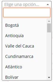 Departamentos de Colombia en el checkout