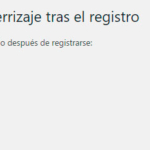 Plugin para regirigir al usuario tras registrarse en WordPress