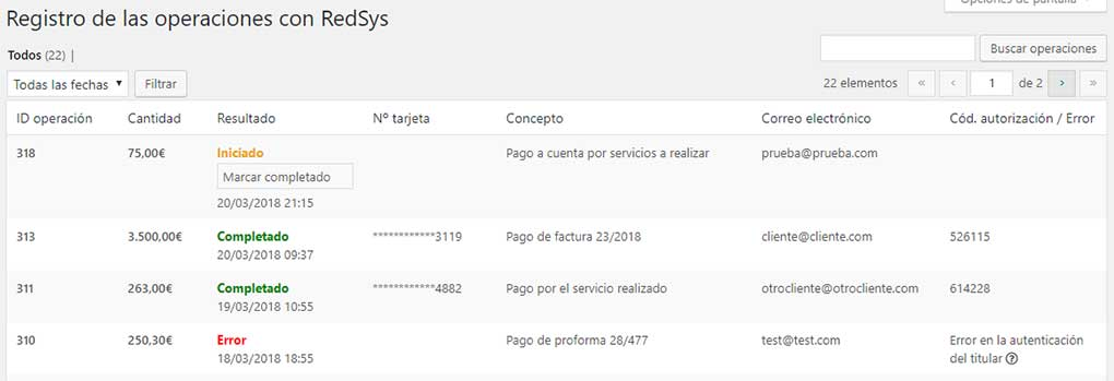 Registro de pagos Redsys con WordPress