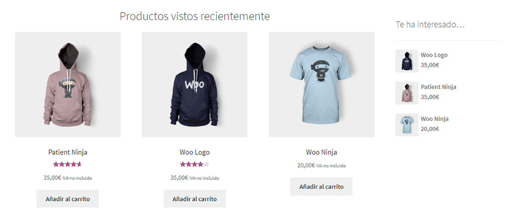 Productos vistos recientemente en WooCommerce