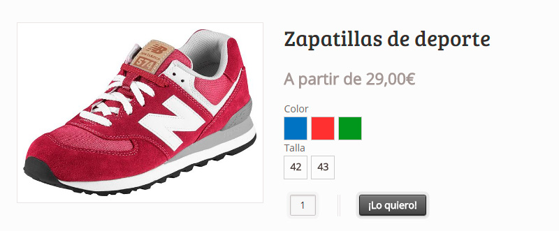 Producto variable WooCommerce