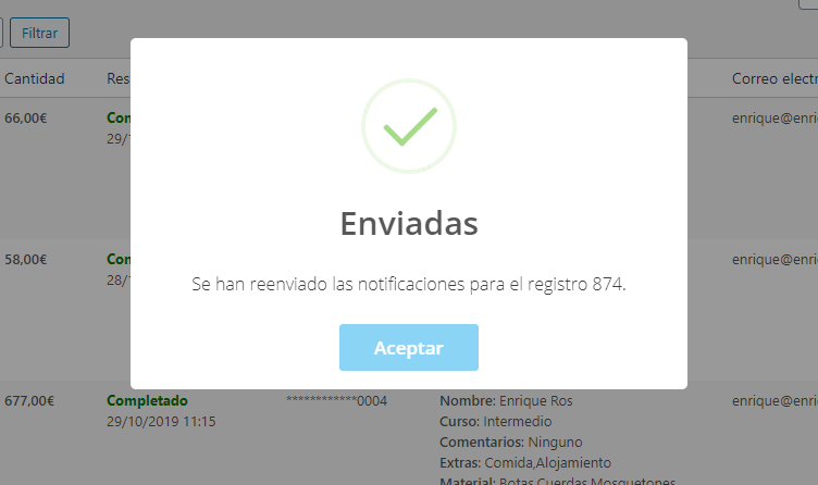 Reenvío manual de las notificaciones