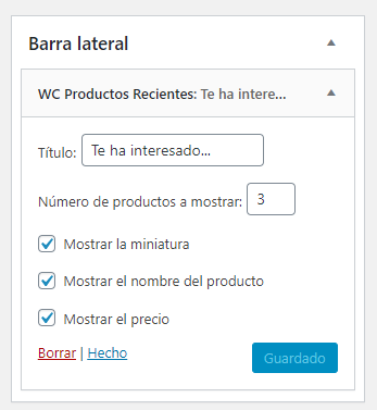 Widget de productos vistos recientemente en WooCommerce