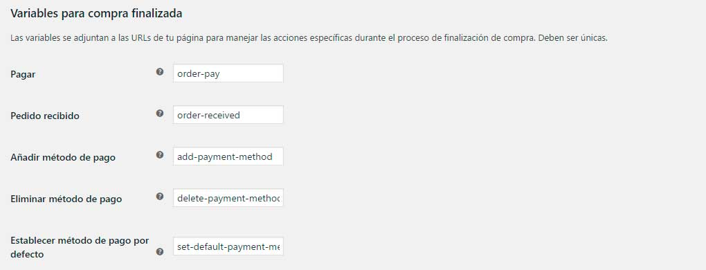 Endpoints del checkout