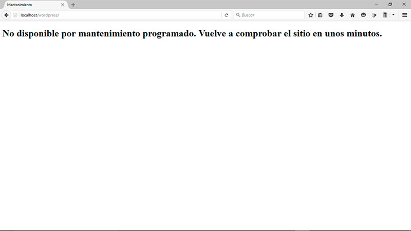 Error No disponible por mantenimiento programado
