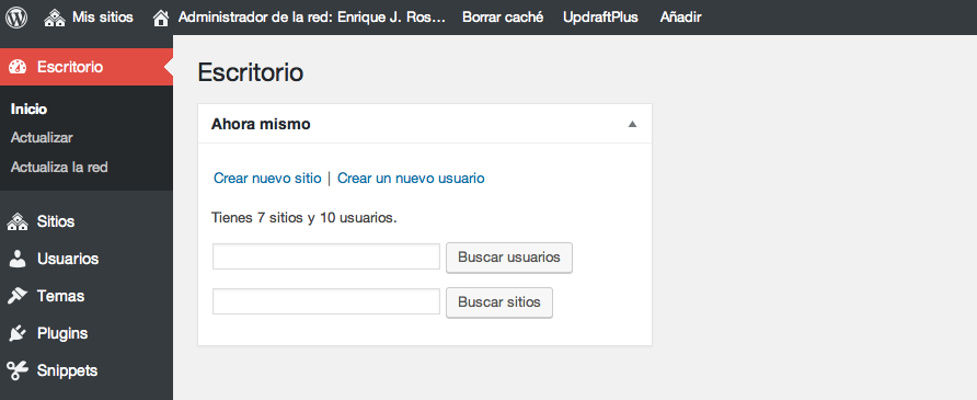Escritorio de un superadministrador en WordPress multisite