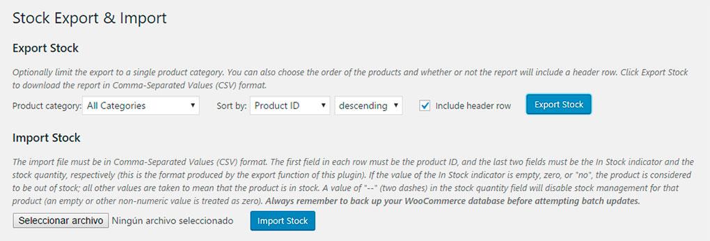 Importar y exportar stocks en WooCommerce