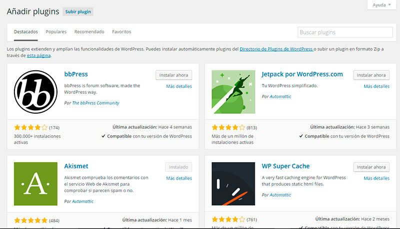 Interfaz de plugins de WordPress