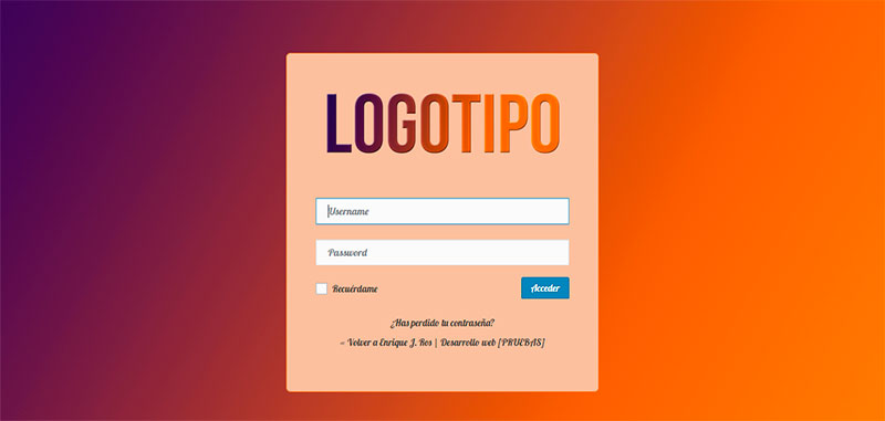 Login de WordPress personalizado