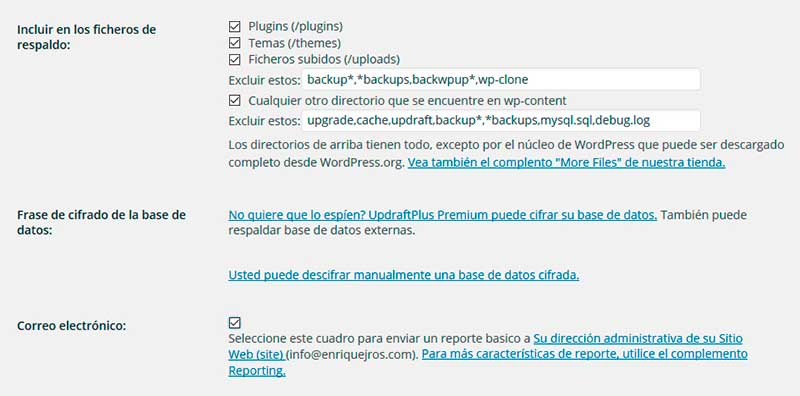 Opciones de copias de seguridad en WordPress