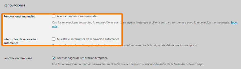 Opciones de renovación en WooCommerce Subscriptions