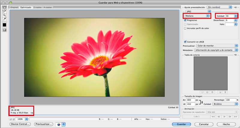 Optimizar imagen con Photoshop