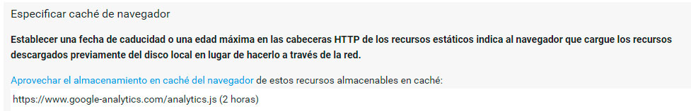 Mensaje de Analytics en PageSpeed