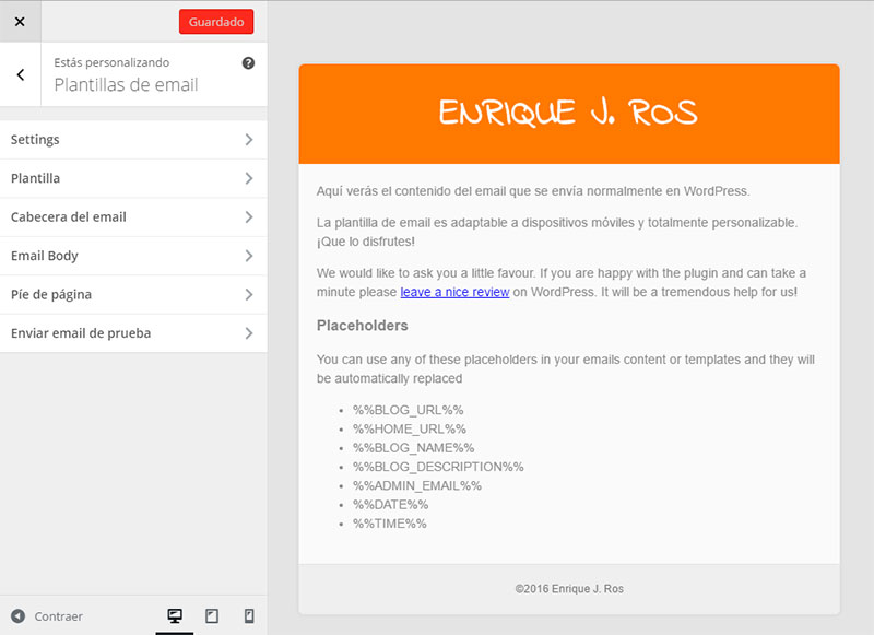 Personalizar emails de WordPress