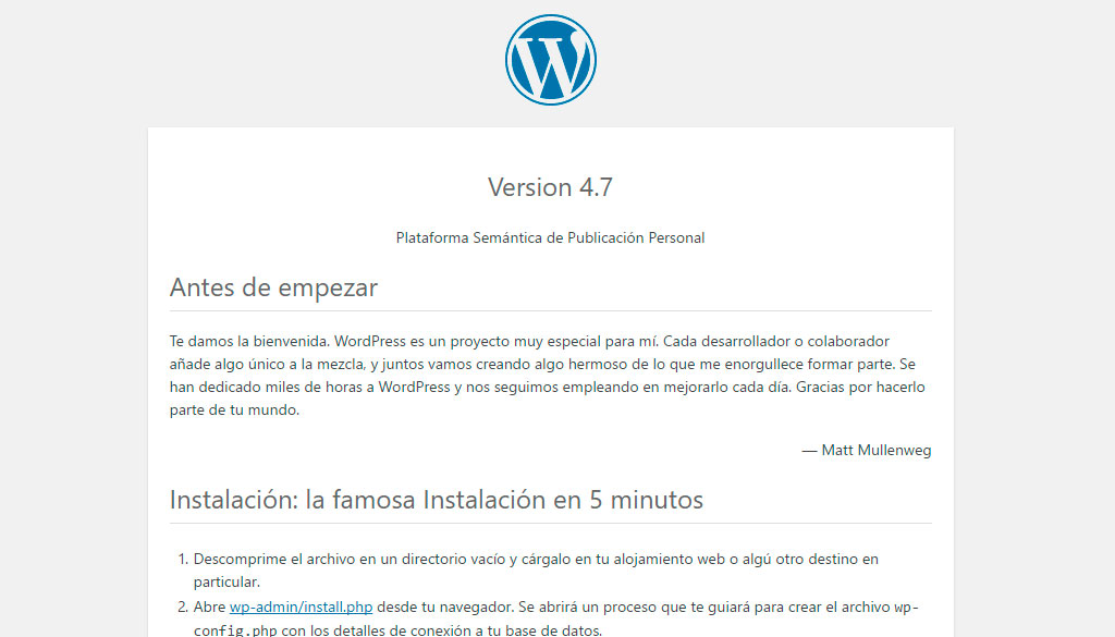 Archivo readme de WordPress