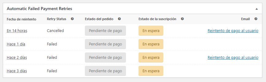 Reintentos de pago con WooCommerce Subscriptions