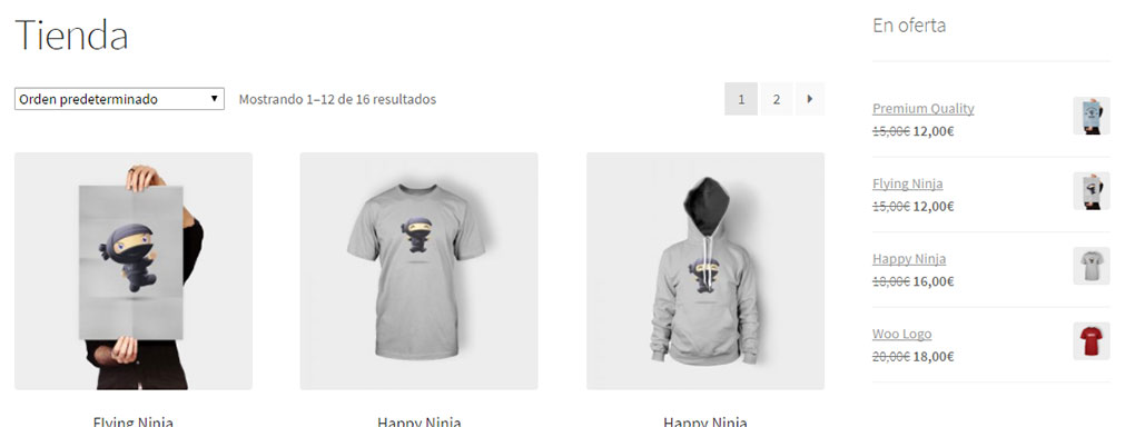 Widgets de productos de WooCommerce