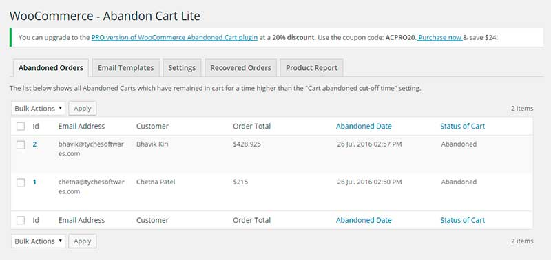 WooCommerce Abandoned Cart Lite