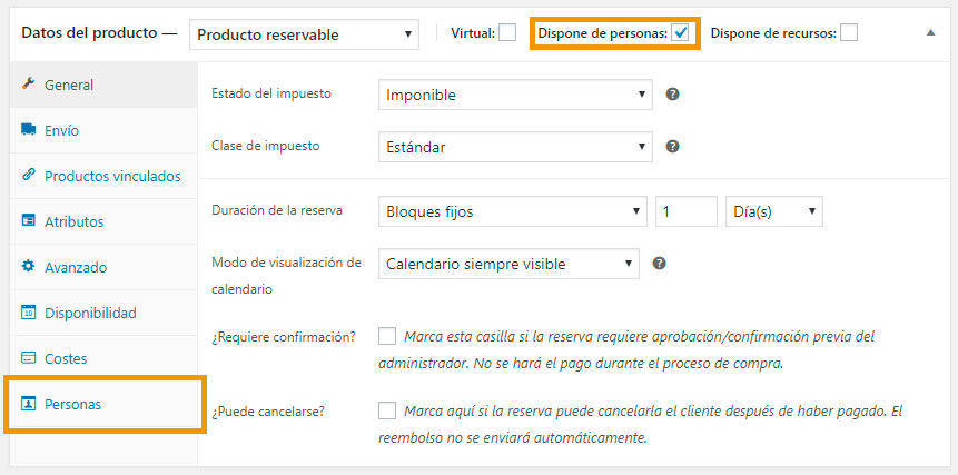 Personas en WooCommerce Bookings