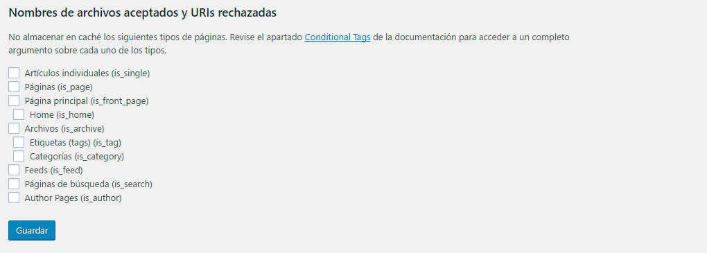 WP Super Cache condicional