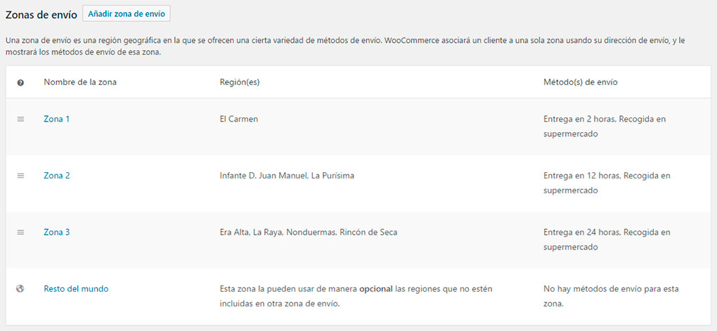 Zonas de reparto local en WooCommerce